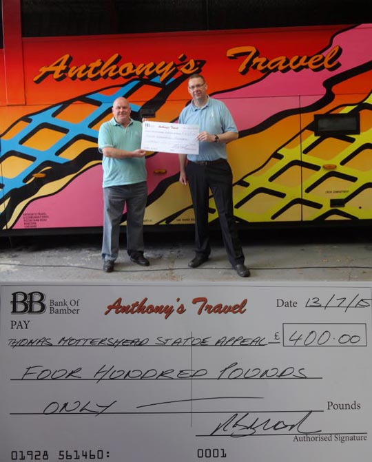 The Mottershead Statue Appeal accept a cheque from Anthony's Travel'